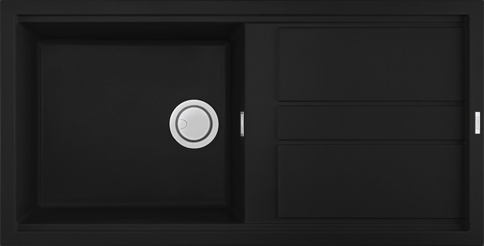 Elleci Best 480 Kompozit Full Black egymedencés mosogató csepptálcával