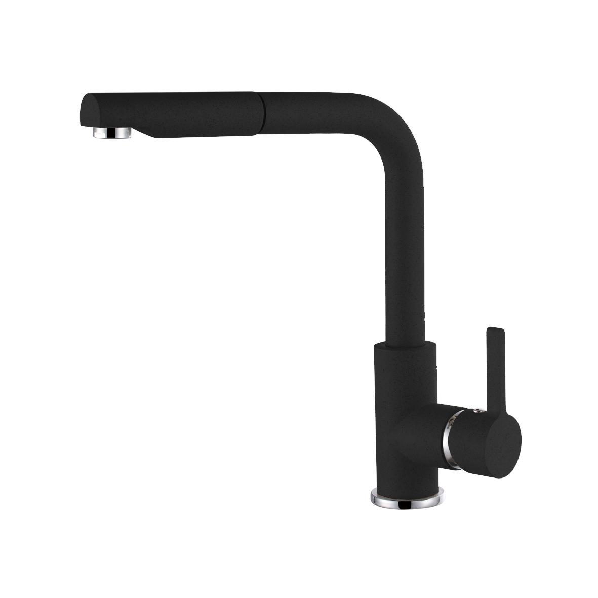 Elleci C02 Full Black egykaros csaptelep forgatható kifolyócsővel, kihúzható zuhanyfejjel