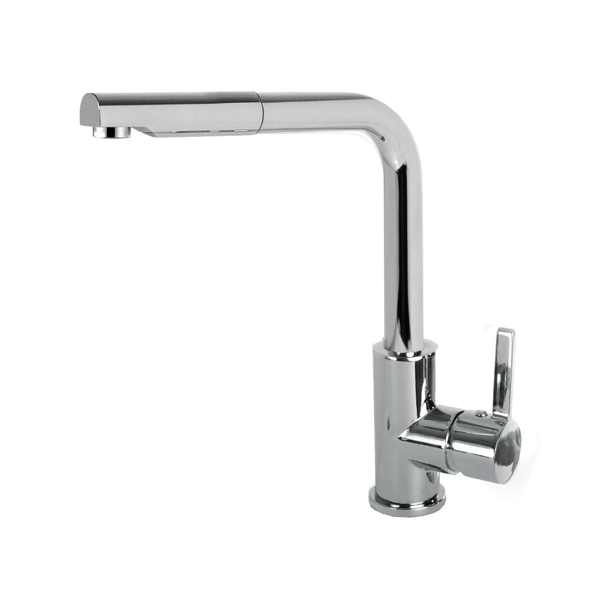Elleci C02 Inox egykaros csaptelep forgatható kifolyócsővel, kihúzható zuhanyfejjel