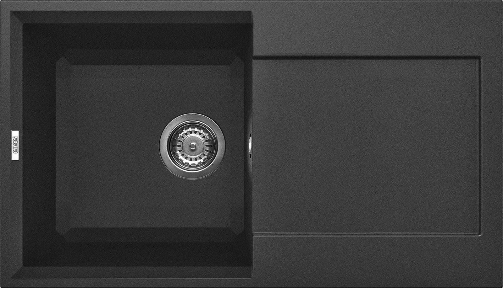 Elleci Easy 290 Kompozit Full Black egymedencés mosogató csepptálcával