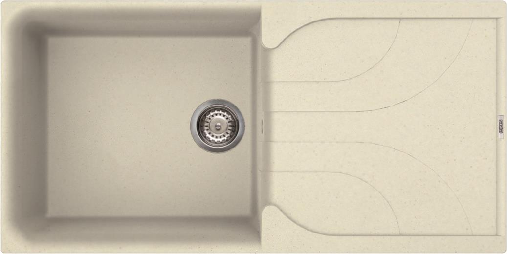 Elleci Ego 480 Kompozit Bianco Antico egymedencés mosogató csepptálcával