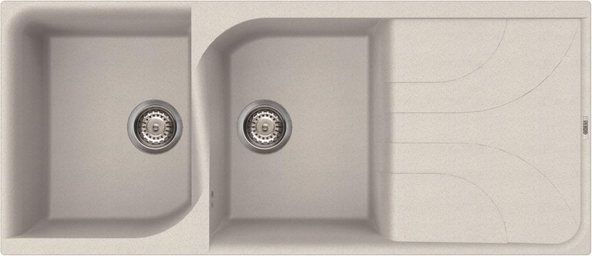 Elleci Ego 500 Kompozit Bianco kétmedencés mosogató csepptálcával