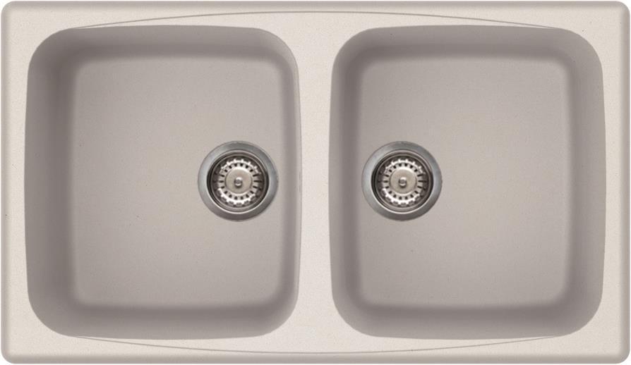 Elleci Master 450 Kompozit Bianco Titano kétmedencés mosogató