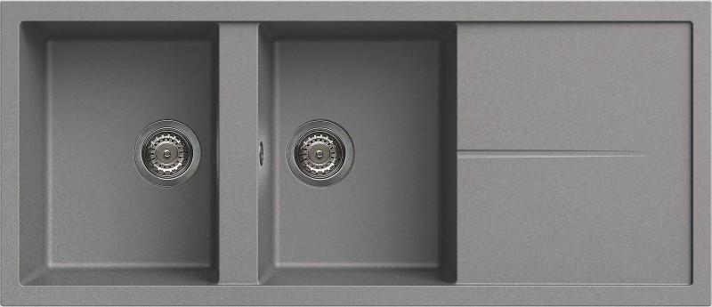 Elleci Unico 500 kétmedencés mosogatótálca csepegtetővel, cemento
