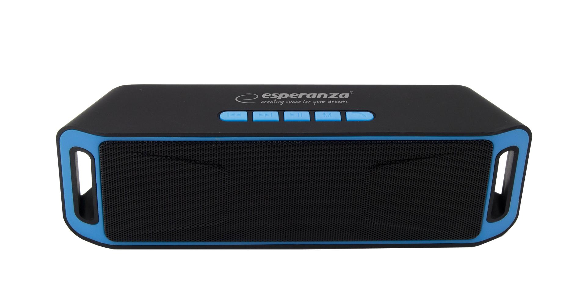 Esperanza Folk bluetooth hangszóró beépített FM rádióval, fekete-kék EP126KB