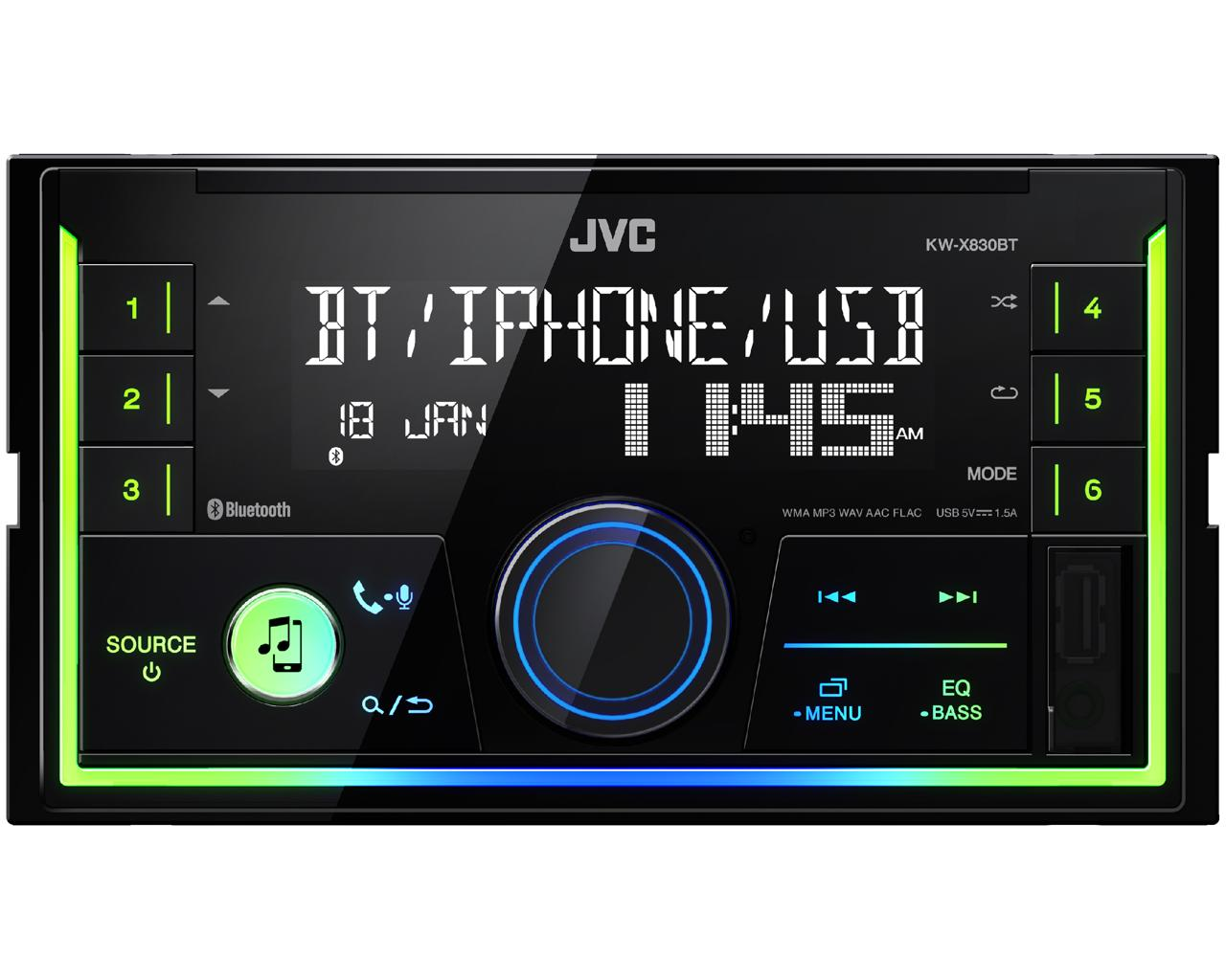 JVC KW-X830BT 2-DIN méretű Digitális Médialejátszó autóba