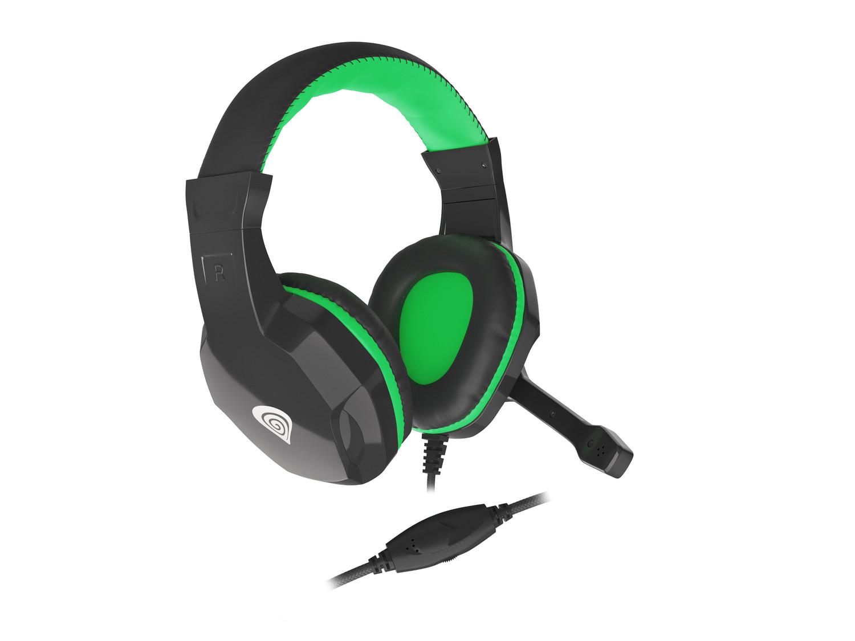 Natec Genesis Argon 100 mikrofonos gamer fejhallgató, fekete-zöld (NSG-1435)