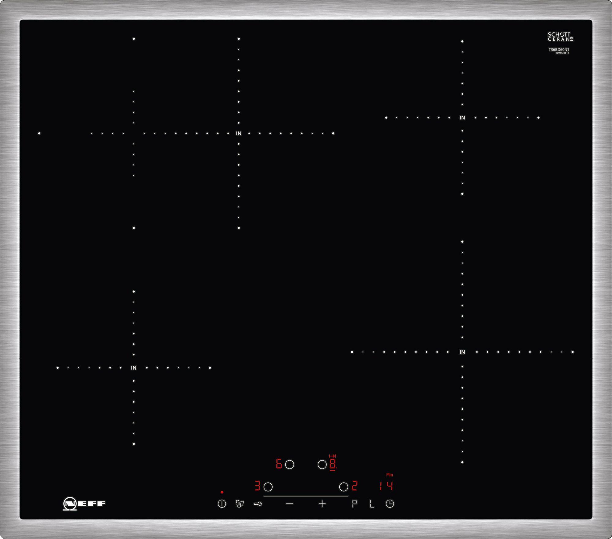Neff T36BD60N1 Önállóan beépíthető indukciós főzőlap Touch Control vezérléssel