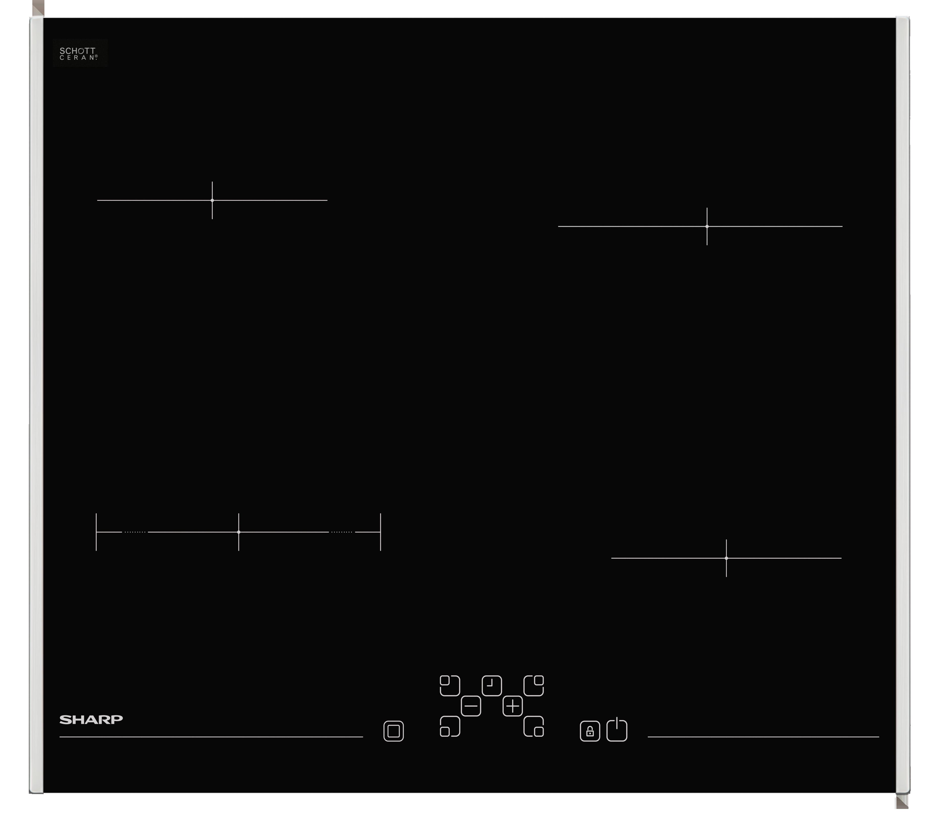 Sharp KH6V08FT00EU Fekete üvegkerámia főzőlap