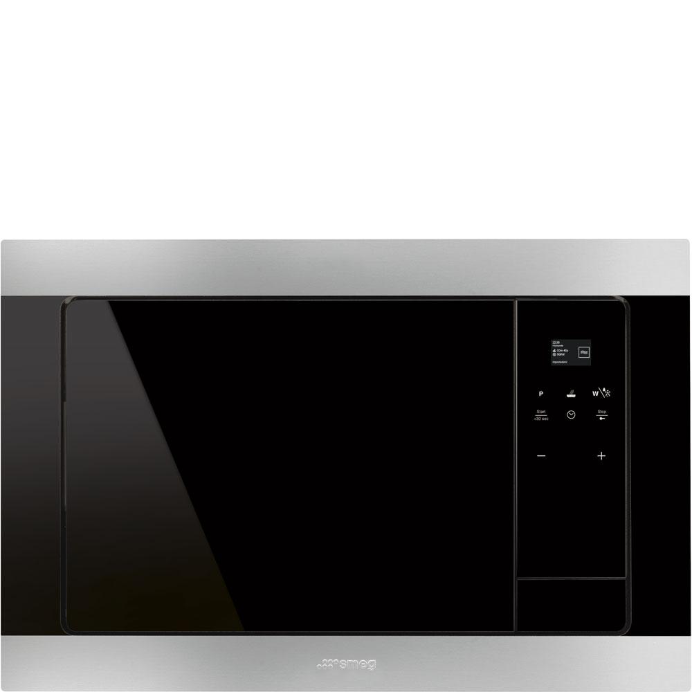 Smeg FMI320X beépíthető mikrohullámú sütő, fekete üveg inox kerettel